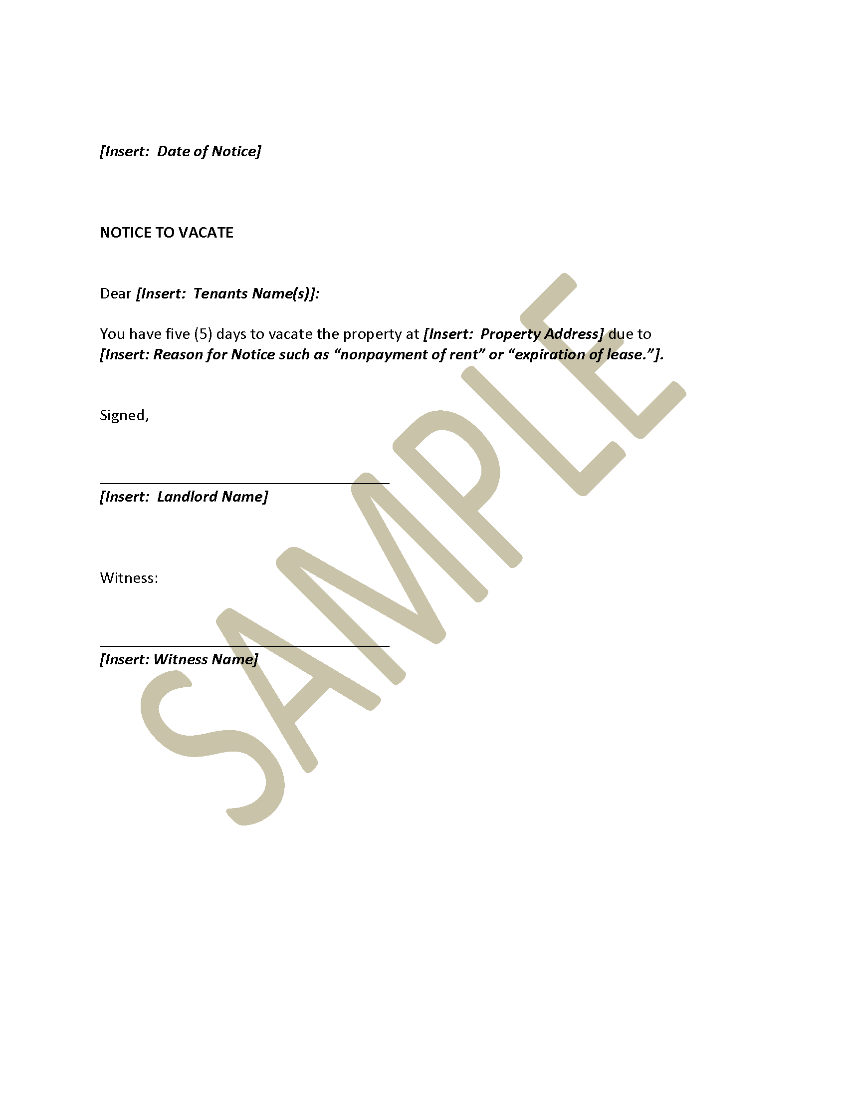 Sample Letter To Landlord With Notice To Vacate Letter Tenant